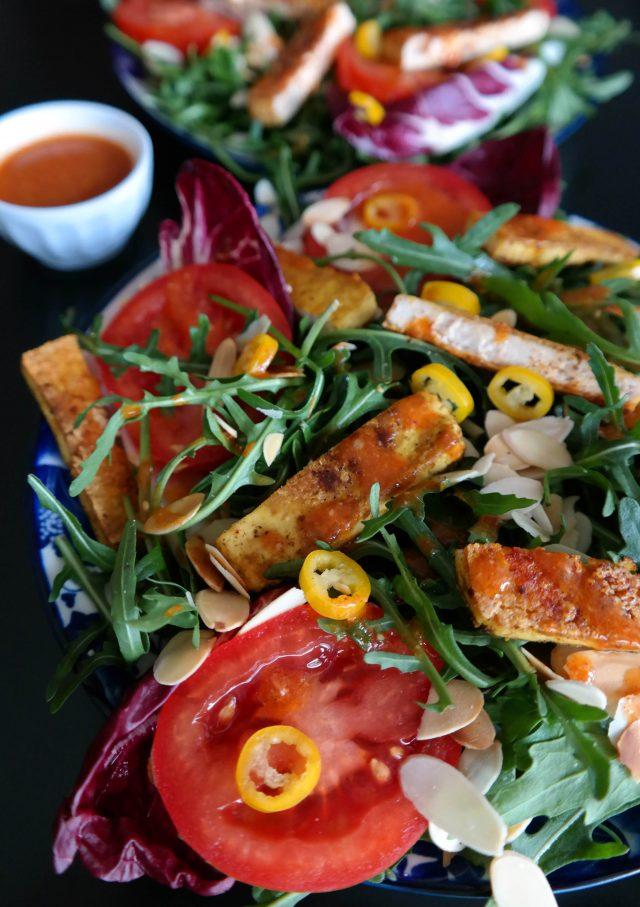 Salat mit gebratenem Tofu Rezept vegan