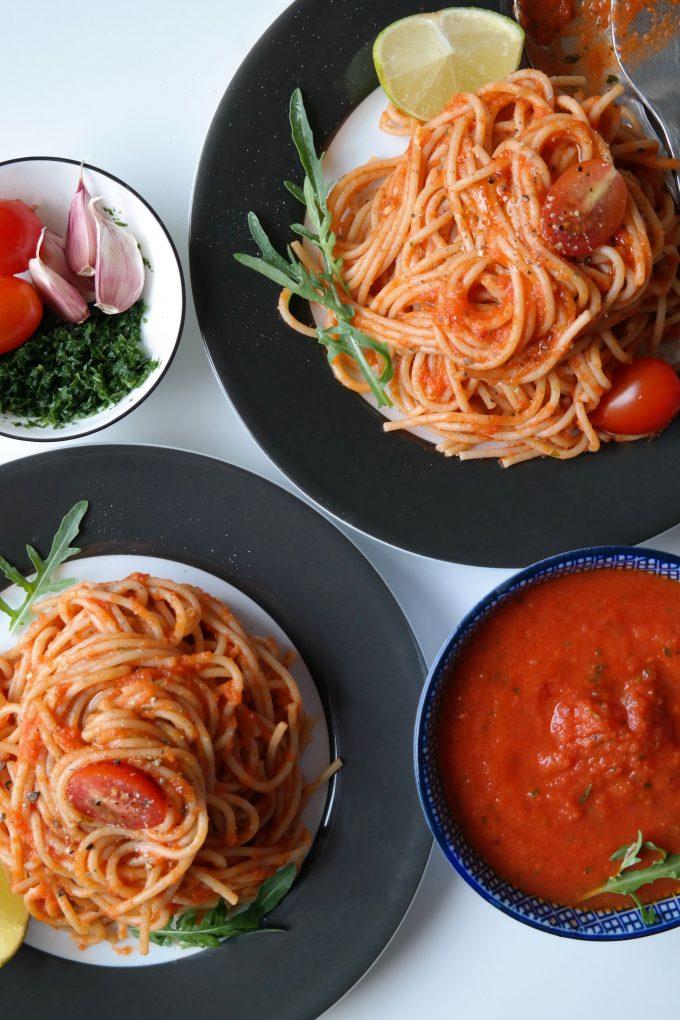 Scharfe Tomatensoße Pasta All'Arrabbiata Rezept Vegan