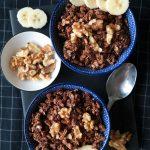 Crunchy Schoko Bananen Granola Müsli Rezept Vegan