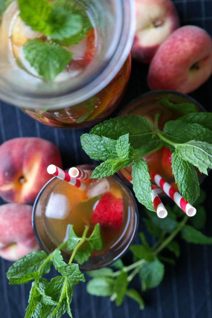 Weißer Pfirsich-Minz Eistee Rezept Vegan