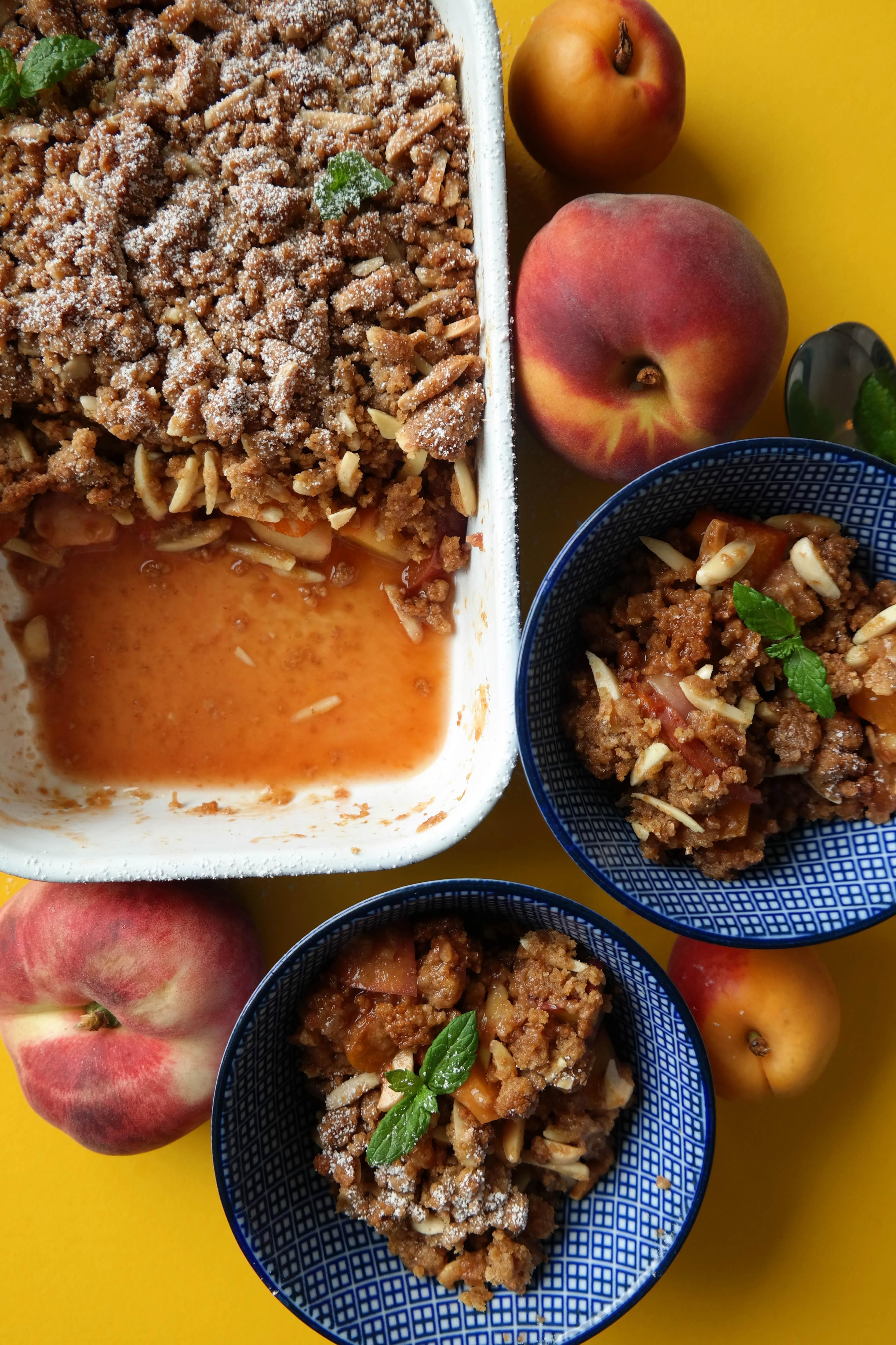 Aprikosen Pfirsich Crumble Rezept Vegan
