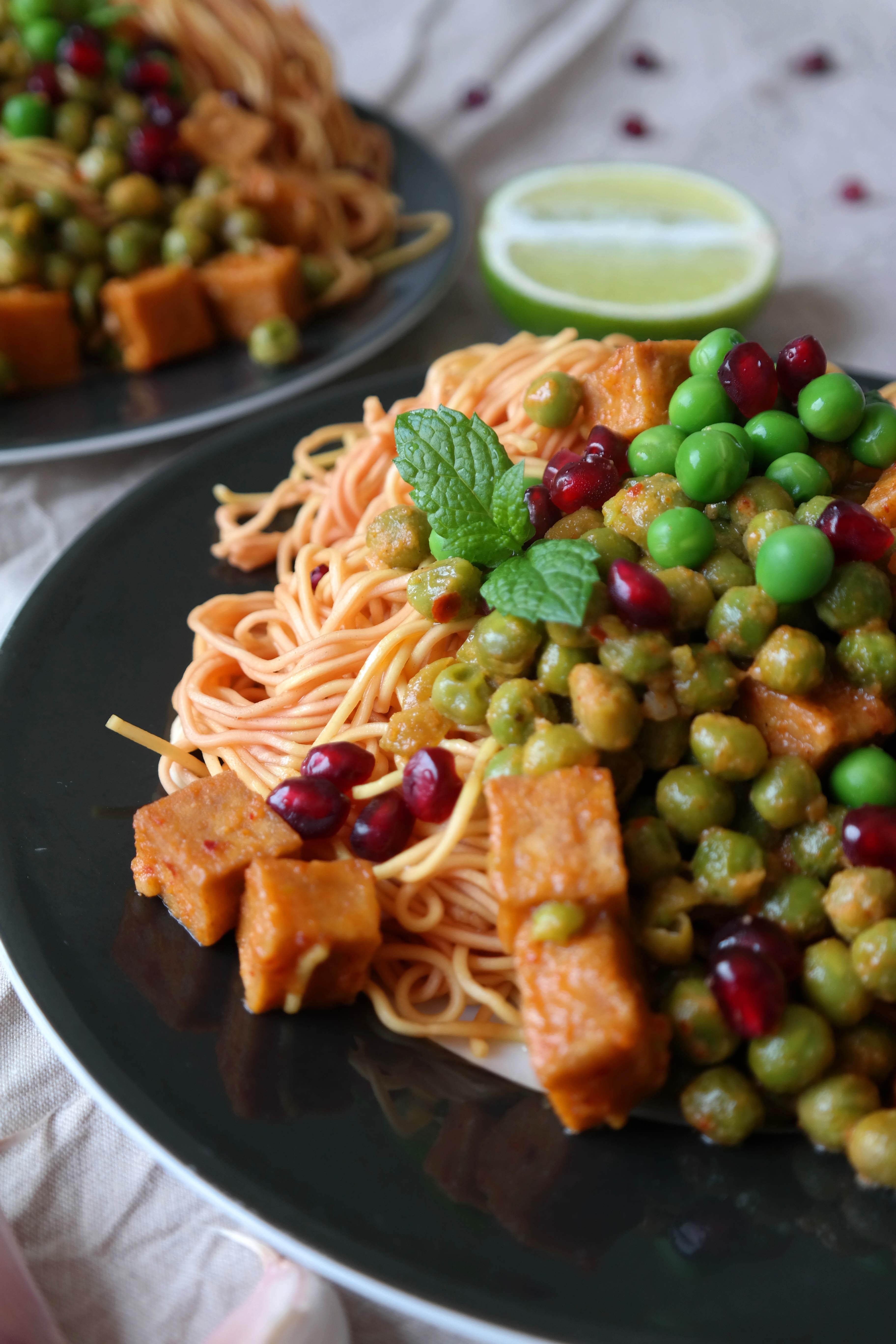 Mi Nudeln mit gebratenem Tofu Rezept Vegan