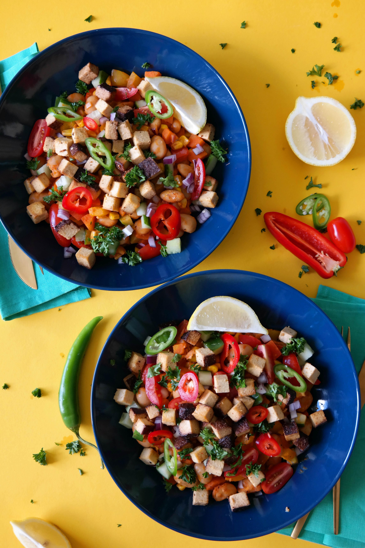 Mexikanischer Bohnensalat mit geräuchertem Tofu Rezept Vegan