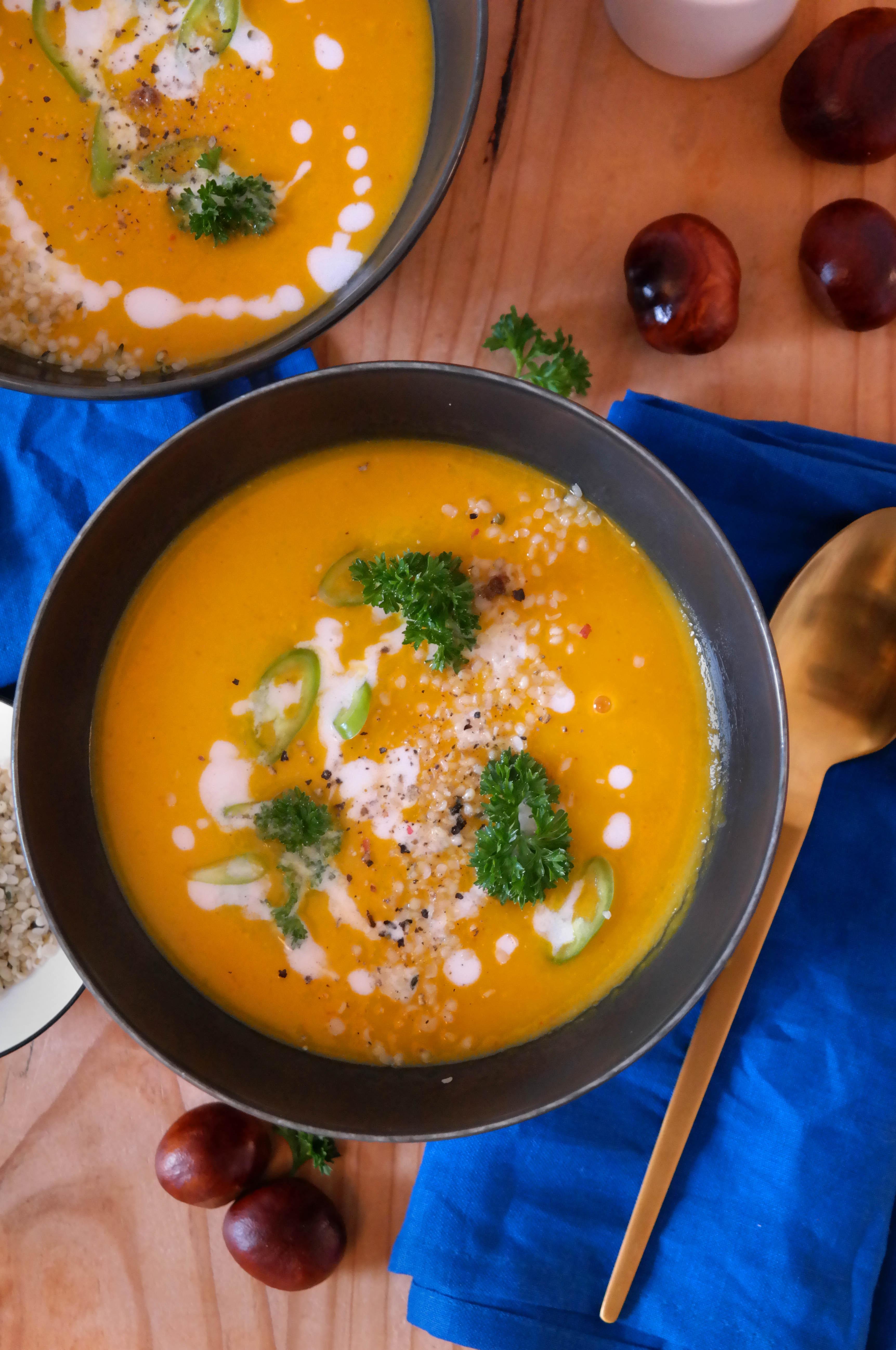 Herbstliche Hokkaido Suppe Rezept Vegan