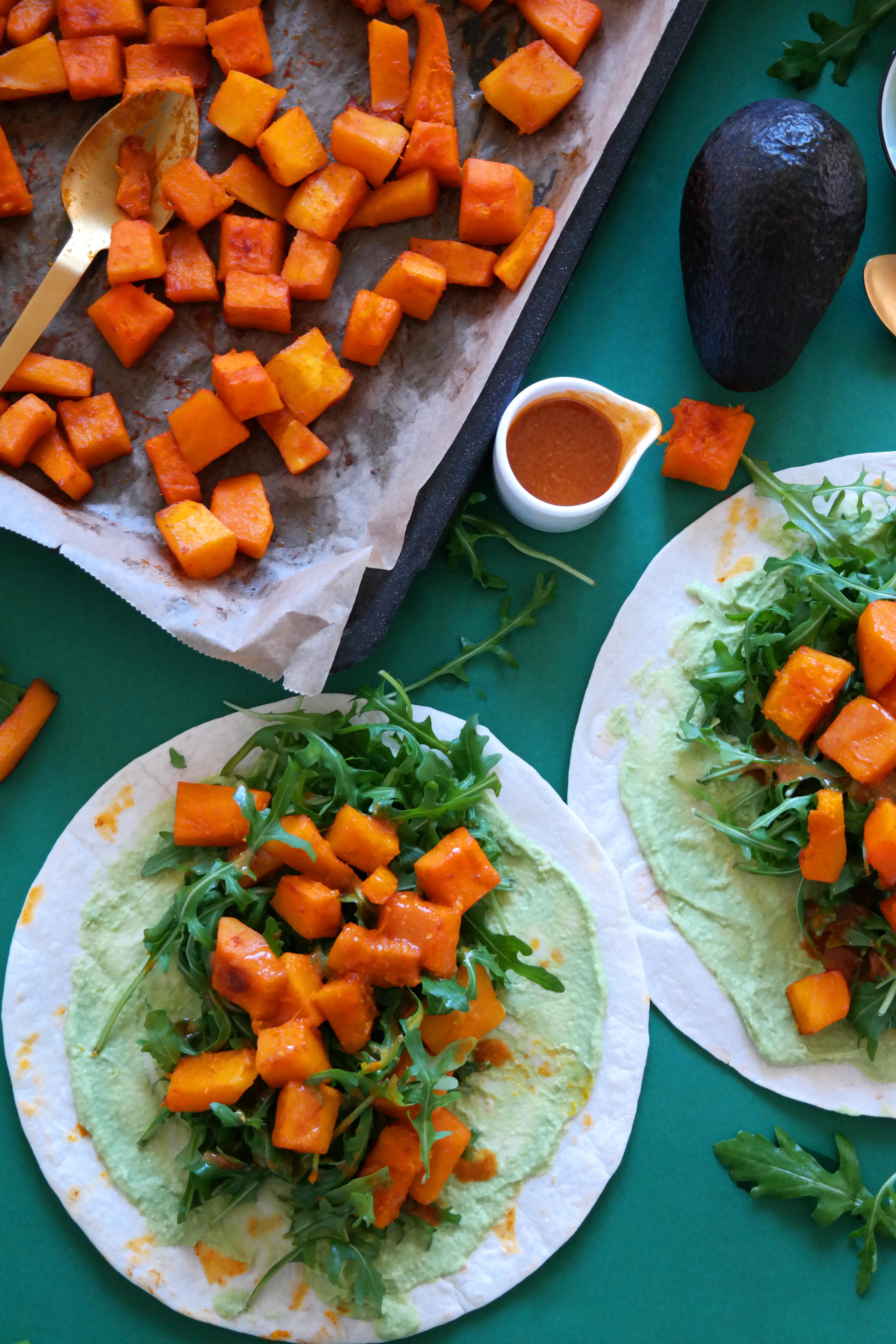 Kürbis-Rucola Wraps Rezept Vegan